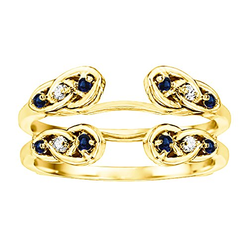0.24 ct. Diamonds (G-H,I2-I3) and Sapphire Infinity Celtic Ring Guard Enhancer in 10k Yellow gold (1/4 ct. twt.)