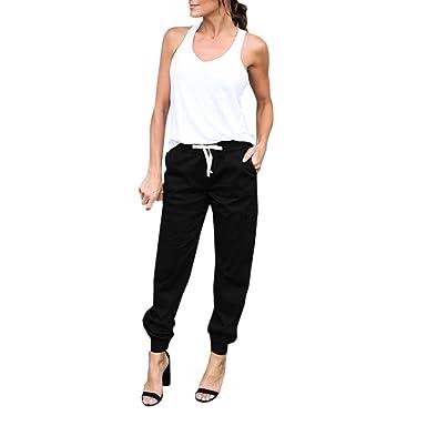 7cafb71e5 OVERDOSE,Femme Pantalon Carotte Jogging Basique Taille Haute avec Ceinture  Casual Cargo Trousers