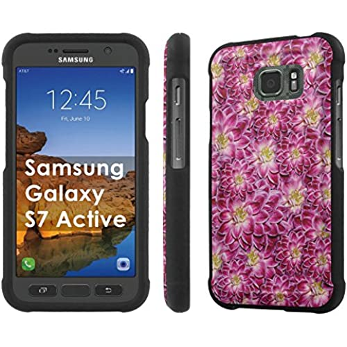 AT&T [Galaxy S7 Active] [5.1 Screen] Armor Case [NakedShield] [Black] Total Armor Protection [Shell Snap] + [Screen Protector] Phone Case - [Flowers Texture] for Sales