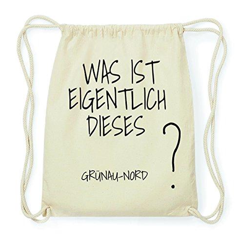 JOllify GRÜNAU-NORD Hipster Turnbeutel Tasche Rucksack aus Baumwolle - Farbe: natur Design: Was ist eigentlich