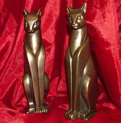 DETAILED ART DECO STYLE COLD CAST BRONZE PAIR OF CAT BOOK ENDS