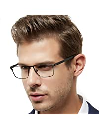 Mens Rectangle Full-Rim Metal Black Non-Prescription...