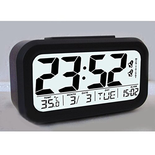 Gurgle Smart Light Activated LED Digital Alarm Clock Clear Display Clock Featuring Date,Week, Month, Temperature Display, Snooze Function, Sensor Light and Night Light(Black)