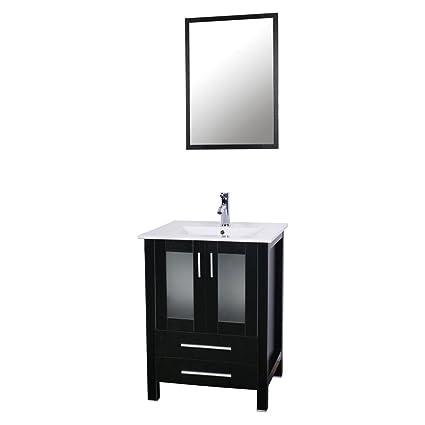 U Eway 24u0026quot; Bathroom Vanity With Ceramic Undermount Vessel Sink  Combo,Chrome Faucet