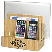 "Monogrammed SMART Eco-Friendly Multi-Device Charging Station with 8-Amp/40-Watt Power Hub for Laptops, Tablets and Phones, Art Deco, ""A"""