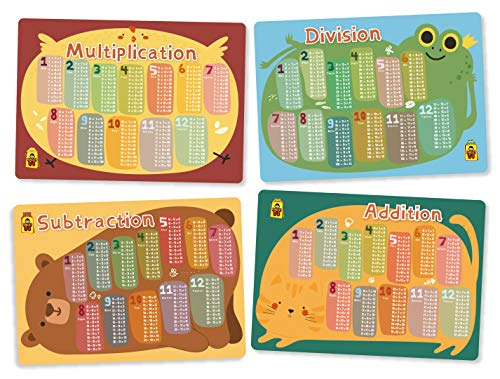(UNCLEWU Kids Math Educational Placemats - Math Set Bundle Learning Placemats: :Multiplication,Division,Subtraction,Addition (Pack of 4))