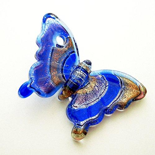 BeadsTreasure Butterfly Lampwork Blown Glass Murano Pendant.