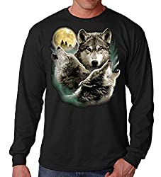 Three Howling Wolves Men's Long Sleeves T-Shirt Black
