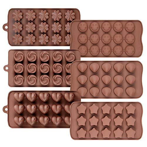 Chocolate Molds Silicone Candy Molds - Silicone Molds for Fat bombs, Cake Decorations, Chocolate Candy Molds, Gummy, Jello Shot Set of 6