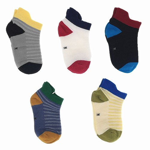 Baby Toddler Half Cushion Low Cut Athletic Ankle Socks for Boys and Girls 5 Pack (4T-6T)