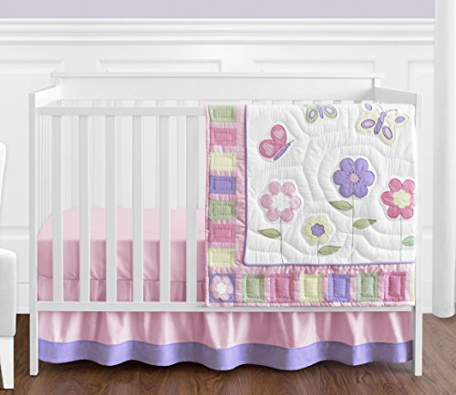 Butterfly Garden Decorative Pillow - Pink and Purple Butterfly Flower Collection Baby Girl Bedding 4 Piece Crib Set Without Bumper