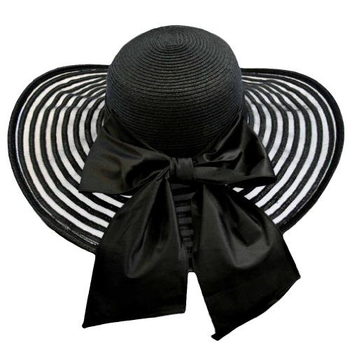 Satin Bow Fedora (Black Wide Brim Floppy Hat Large With Satin Bow)