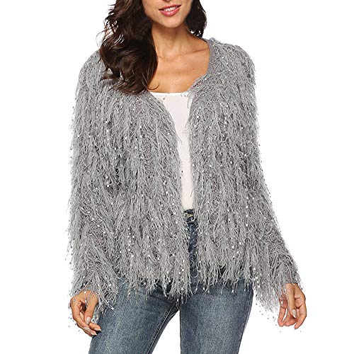 URIBAKE ❤ Fashion Women's Outwear Winter V-Neck Tassels Sequins Cardigan Long Sleeve Coat ()