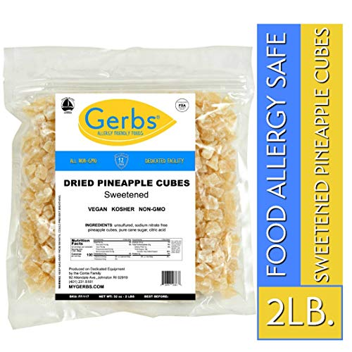 Gerbs Dried Pineapple Cubes, 2 LBS - Preservative Free & Unsulfured - Top 14 Food Allergy Free & NON GMO - Product of Thailand