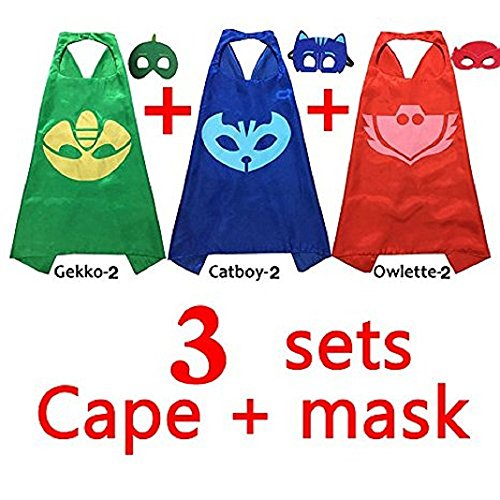 MIJOYEE Mask with Cape for Kids (Set of 3) Masks Costumes Catboy Owlette Gekko