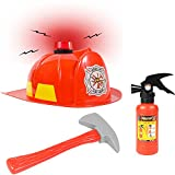 Funny Party Hats Fireman Hat -3 Pc Set - Fireman Helmet with Axe and Extinguisher - Firefighter Toys - Fireman Dress Up by