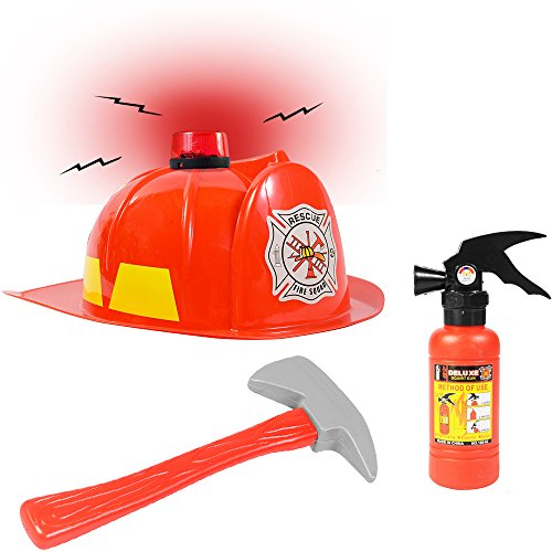 Funny Party Hats Fireman Hat -3 Pc Set - Fireman Helmet with Axe and Extinguisher - Firefighter Toys - Fireman Dress Up (Helmet Axe)