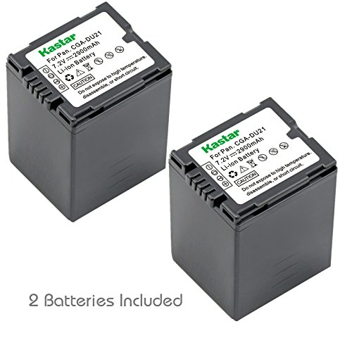 Kastar Battery 2x for Panasonic CGA-DU21 and NV-GS40 GS44 GS47 GS50 GS55 GS57 GS58, PV-GS150 GS180 GS200 GS300 GS320 GS400 GS500, SDR-H250 H280, VDR-D258 D300 D308 D310 D400, VDR-M74 M75 M95 M250 ()
