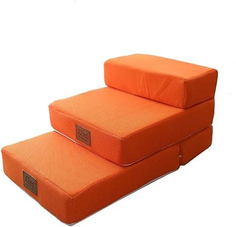 Taburete de escalera ZCJB Escaleras For Mascotas For La Cama Plegable De Color Naranja, Ideal For Perros Pequeños De 33 LB, Rampa For Perros Plegable Rampa For Mascotas/Cubierta Lavable A Máquina ta: