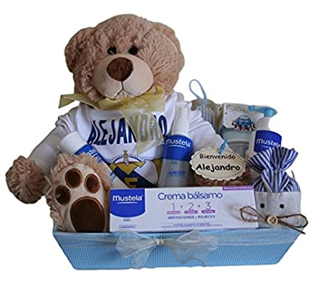 Canastilla regalo para bebé Real Madrid Mustela, body ...