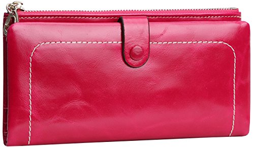 Heshe Leather Womens Long Wallet Credit Card Clutch Holder Case With Zip (Rose)