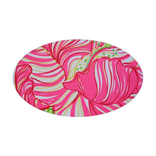 CafePress Pink Hibiscus in Lilly Pulitzer Sty Sticker (Oval) Oval Bumper Sticker, Euro Oval Car Decal