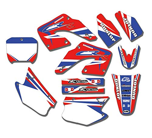 (JL'S HOME Team Decals Graphics Backgrounds Stickers For Honda CR125 CR250 CR 125 250 Graphics Kit Full Decals Stickers 2000 2001,Custom Number Plate (Number/Letter/Pattern/Logo))