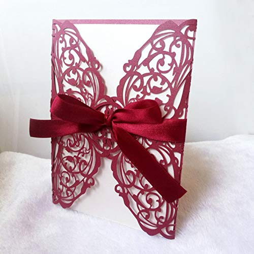JEWH 10Pcs/1Lot Wedding Invitation Card Laser Cut Lace Openwork Invitation Cards White Elegant Pattern Holiday Party Decoration (Red)