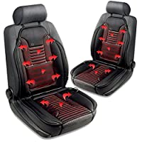Zone Tech Heated Car Seat Cushion - 2-Pack Black 12V Heating Warmer Pad Hot Cover Perfect for Cold Weather and Winter Driving