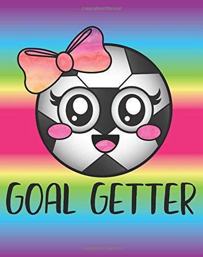 Goal Getter: Cute Soccer Girl Quote Emoji Ball Diary Journal with 160 Lined Pages, 8x10 inch Blank Notebook with Rainbow Design Softcover for Girls, Boys, Kids & Adults