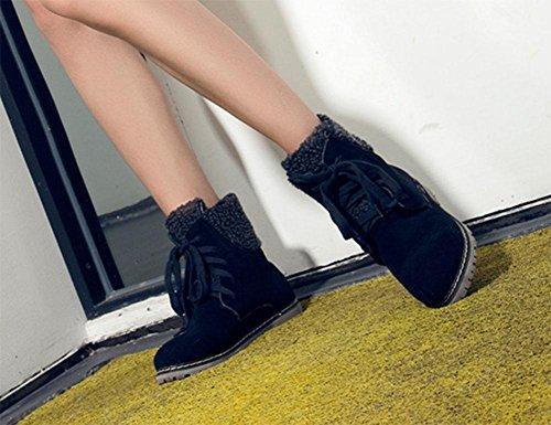 Botas Salvaje Cotton Moda Fondo Plano Botas Bajo Tacón Black Tamaño Mujer Meili Zapatos Algodón De Encaje Estudiantes Gran wFRUqZ
