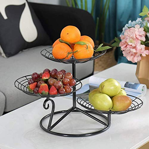 Drying Rack Fruit Bowls,3 Tier Metal Fruit Bowls - Vegetables/Nuts/Candy Dish Tray Fruit Racks Storage Shelf (Size : Black)