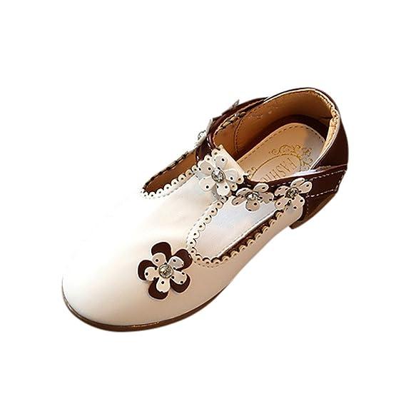 YanHoo Zapatos de niñas Flores Zapatos Solos Zapatos de Cuero Zapatos Princesa Bebé Moda Zapatillas de