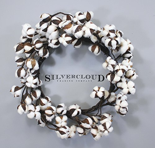Real Cotton Wreath - 18''-28'' - Adjustable Stems - Farmhouse Decor - Wedding Centerpiece by Silvercloud Trading Co.