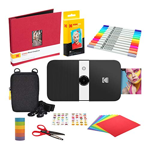 KODAK Smile Instant Print Digital Camera (Black/White) Scrapbook Kit with Soft Case