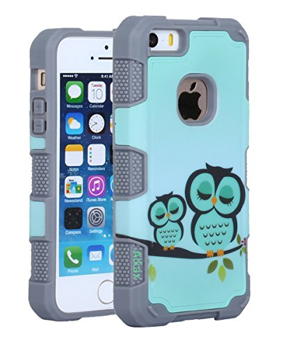 iPhone 5S Case , iPhone SE Case , iPhone 5 Case, Alkax Heavy Duty Non Slip Series Rugged Dual Layer Hybrid TPU & Hard PC Back Cover Armor Protective Bumper For iPhone 5S + 1 Stylus(Grey) (Flip Iphone 5s Speck Case)