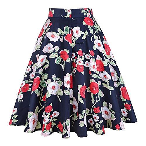872e99d4cc0 Women Skirts Floral Print High Waist Vintage Skirts 54s Swing Retro Skater  Casual Skirt Green Faldas Mujer