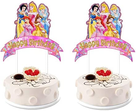 Sensational 2 Pieces Disney Princess Cake Toppers Happy Birthday Cake Personalised Birthday Cards Veneteletsinfo