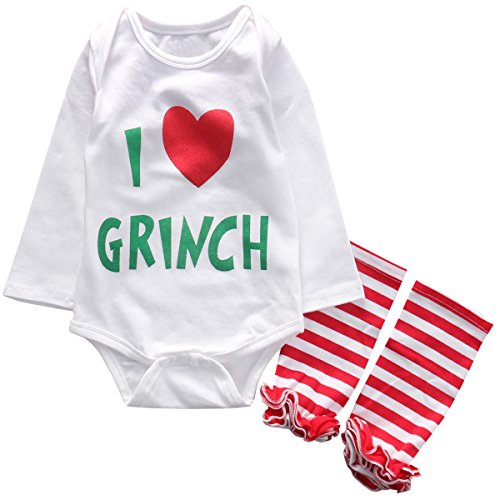 Grinch Outfits (Infant Baby Girls I Love Grinch Letter Bodysuit Romper Striped Leg Warmer 2Pcs Christmas Outfits Best Xmas Gift (3-6 Months, Red))
