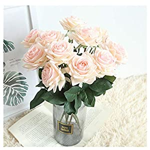 Rose Artificial Flowers,Pack of 9 Home Decoration Wedding Realistic Fake Flowers 98