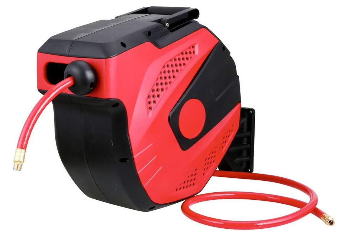 30 m AREBOS Enrollador autom/ático de manguera de aire comprimido giratorio 180/° resistente a los rayos UV incluye soporte de montaje soporte de pared acoplamiento r/ápido de 1//4 pulgadas
