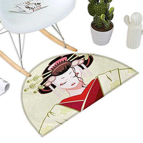 Japanese Half Round Door mats Geisha Woman Portrait Traditional Asian Kimono Maiko Cultural Hairdo Bathroom Mat H 15.7