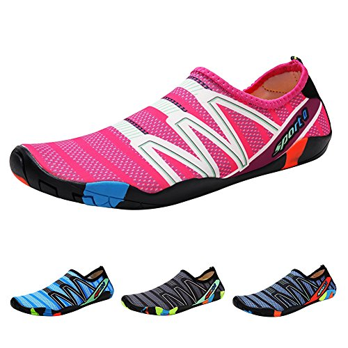 QIMAOO Barefoot Skin Shoes Water Socks, Men Women Quick Dry Water Sport Shoes, Unisex Aqua Shoes for Swim Yoga Beach Running Snorkeling Swimming Scuba Diving Strips Rosy