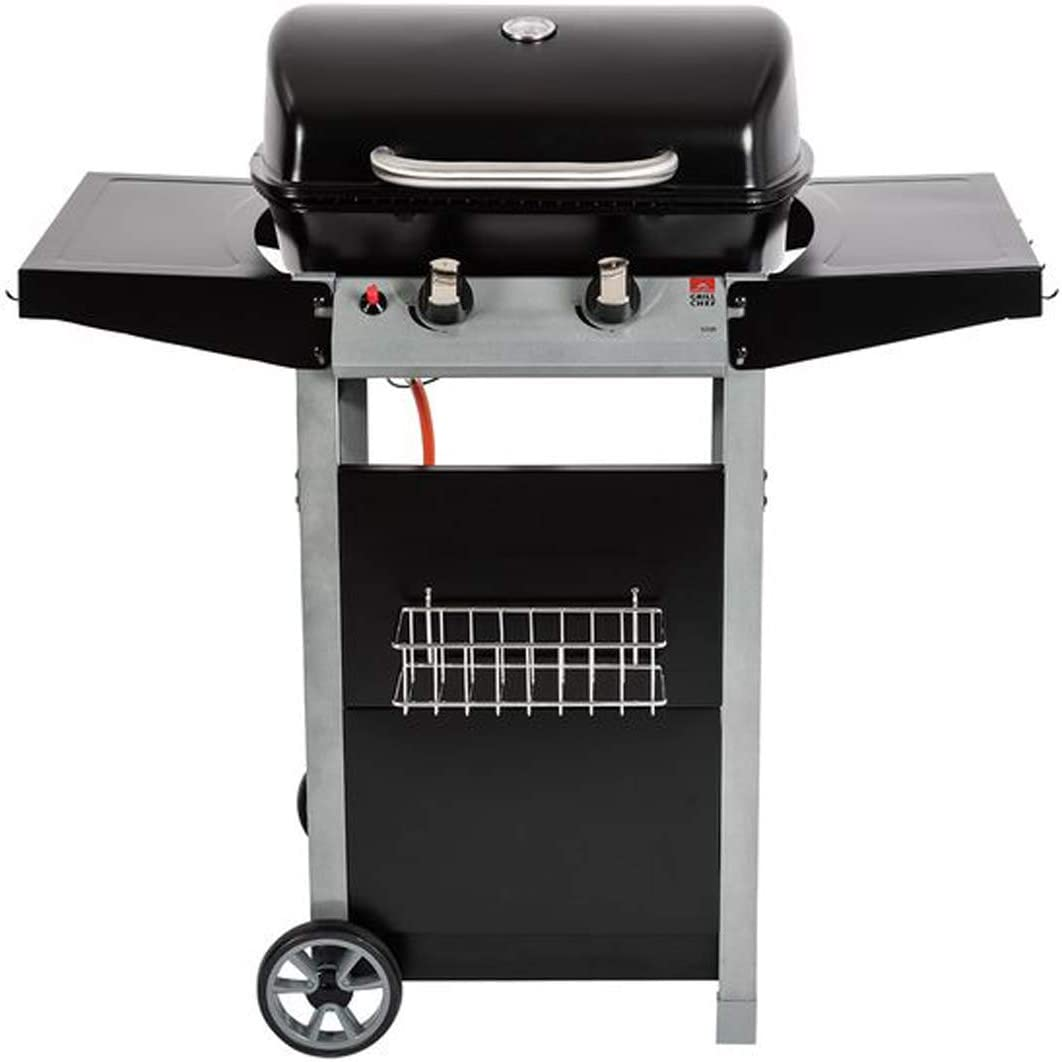 Grillchef by Landmann - Barbacoa de gas con ruedas, 90 cm de altura, 2 quemadores, mesa lateral, 4 ganchos para cubiertos: Amazon.es: Jardín
