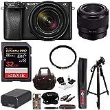 Sony α6300 Mirrorless Digital Camera (Black) w/18-135mm Lens & SEL50F18F Lens