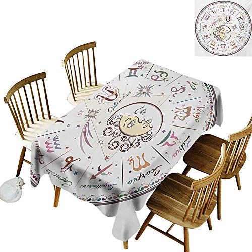 Denim Calendar Chart - Hall Rectangular Tablecloth W60 x L84 Zodiac Western Chart with All Signs Aries Virgo Leo Taurus Libra Mystique Fate Calendar Multicolor Ideal for Buffet Tables Parties Gala Dinners Weddings etc.