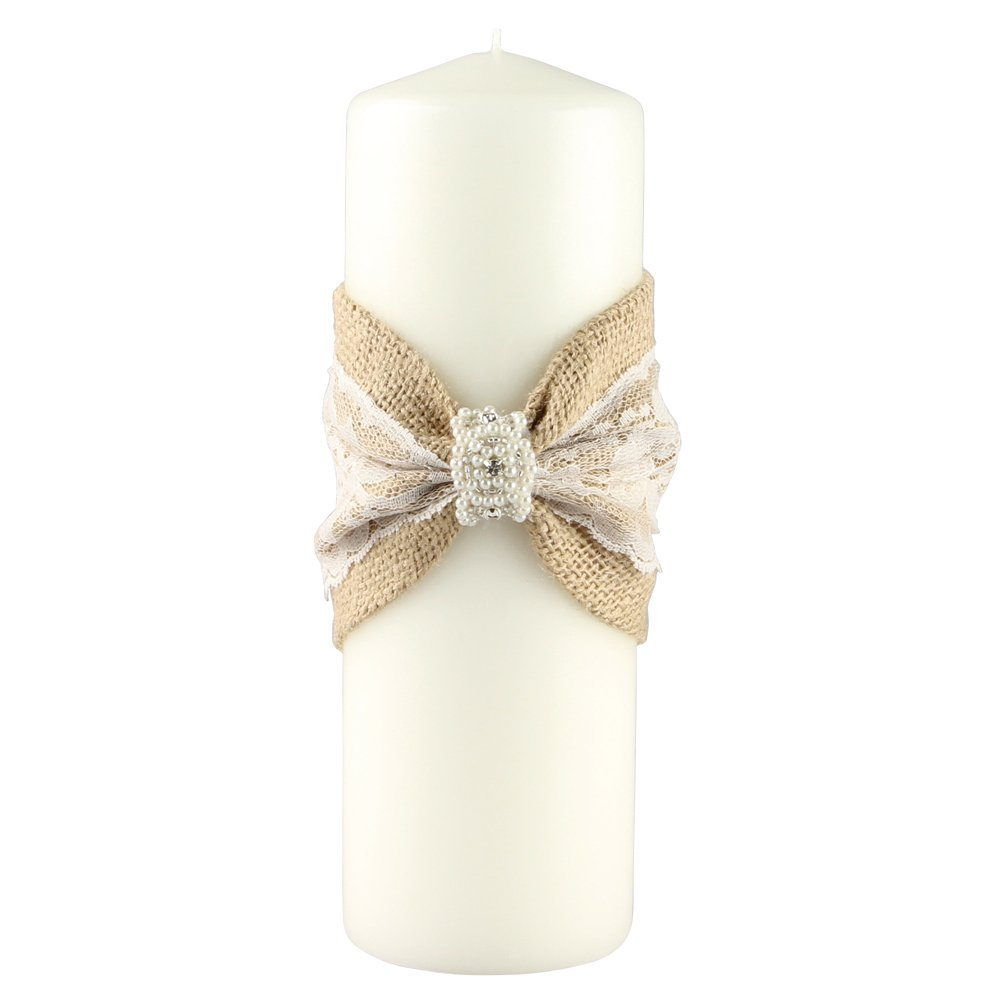 Ivy Lane Design Selina Collection Unity Candle, 3-Inch by 9-Inch, Ivory