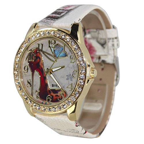 Inkach® Women Fashion High Heels Pattern Rhinestone Leather Band Analog Quartz Vogue Watches (White)