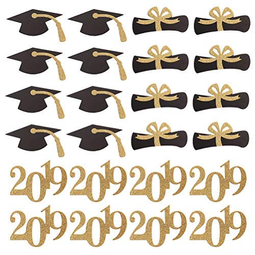 Amosfun 2019 Graduation Cupcake Topper Graduation Hat Certificate Cake Picks DIY Graduation Party Favors Supplies 24PCS