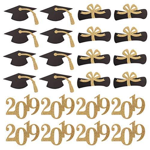 Amosfun 2019 Graduation Cupcake Topper Graduation Hat Certificate Cake Picks DIY Graduation Party Favors Supplies 24PCS -